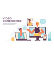 video conference virtual call with people chat on vector image vector image