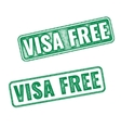 Visa free green textured rubber stamp vector image