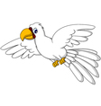 white parrot cartoon flying vector image vector image