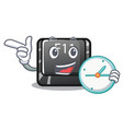 with clock f11 button in character shape vector image vector image
