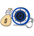 with money bag qash coin character cartoon vector image vector image