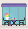 young blonde girl sitting on the restaurant vector image vector image