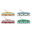 a set eco-friendly trams different colors vector image vector image