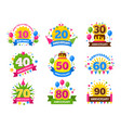 anniversary numbers celebration party year vector image vector image