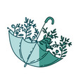 aquamarine silhouette of umbrella with plants vector image vector image