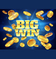 big win prize label with gold flying coins vector image