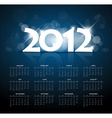 Blue calendar for the new year 2012 with back vector image