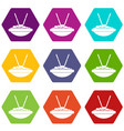 bowl of rice with chopsticks icon set color vector image vector image