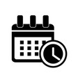 calendar with alarm clock icon icon simple vector image