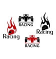 Car racing and motorsport icons vector image vector image
