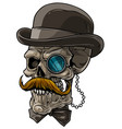 cartoon gentleman skull with black hat and monocle vector image vector image
