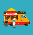 cartoon of food truck on the street vector image vector image