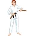 Caucasian Nunchuck girl in karategi vector image