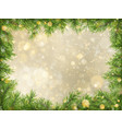 christmas gold bokeh with tree branches frame vector image