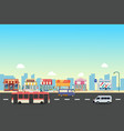 city street and store buildings with bus minibus vector image vector image
