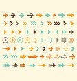 collection arrows icons in retro style vector image