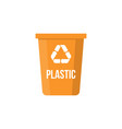 colorful plastic recycle bin flat design vector image