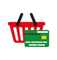 Credit card and shopping basket of commerce vector image vector image