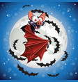 cute cartoon bat flying in night sky on the vector image