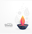 diwali festival greeting with diya and paisley vector image vector image