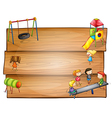Empty wooden signboards with kids playing vector image vector image