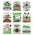 farming agriculture icons farm field and farmer vector image vector image
