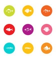 fish day icons set flat style vector image vector image