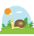 flat cartoon snail vector image vector image