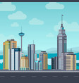 flat cityscape skyscraper modern buildings city vector image