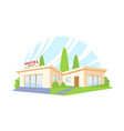 flat style modern architecture motel with green vector image vector image