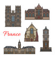 french travel landmark icon of rennes vector image vector image