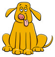 funny yellow dog pet cartoon character vector image vector image