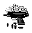 Gun and money vector image vector image