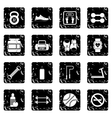 Gym set icons grunge style vector image vector image