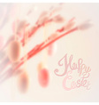 Happy Easter lettering with bokeh willow tree and vector image