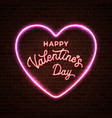 happy valentines day neon lettering inscription vector image vector image