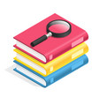 isometric book icon stack of books textbook pile vector image vector image