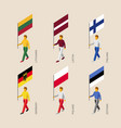 isometric people with flags of europe vector image vector image