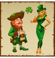 Leprechaun and a beautiful blonde in green vector image vector image
