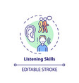 listening skills concept icon vector image vector image