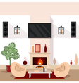 Living Room Interior with TV and Fireplace vector image vector image