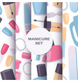 manicure and pedicure tools seamless pattern set vector image vector image