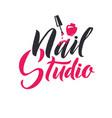 Manicure studio nail master logo beauty vector image