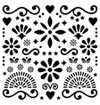 mexican folk art pattern black and white vector image vector image