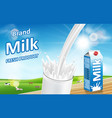milk pouring down with splash isolated on bokeh vector image vector image