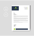 modern green letterhead layout template vector image vector image