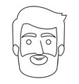 monochrome contour of man face with hair and beard vector image