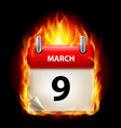ninth march in calendar burning icon on black vector image vector image