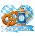 Oktoberfest pretzel and mug vector image