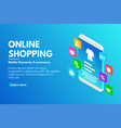 online shopping concept isometric smartphone with vector image vector image